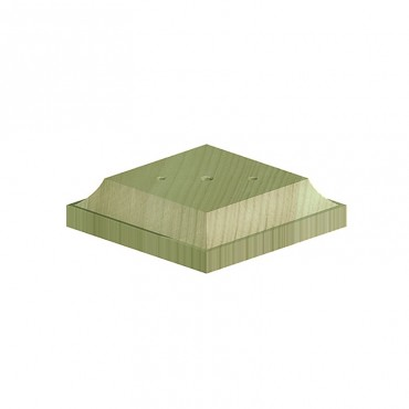 "BIRKDALE POST BASE>FINIAL(FOR3""POST-R6) 96X96X22MM GREEN TREATED"