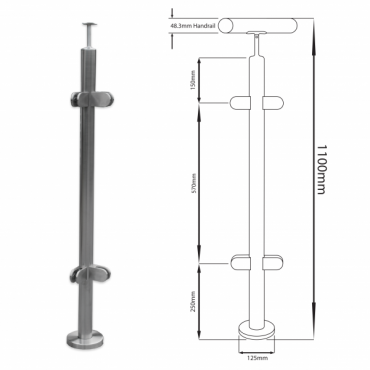 ALUMINIUM CORNER POST 1100MM HIGH KSS.PRE.1100.90