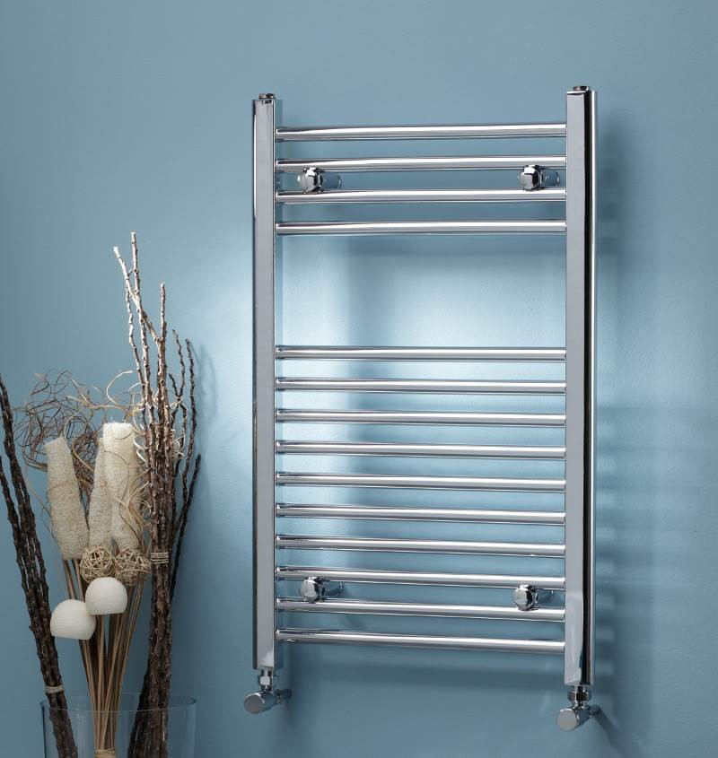 600mm Wide 800mm High Straight Chrome Heated Towel Rail: TOWEL RAIL STRAIGHT 600MM WIDE X 1200MM HIGH CHROME OUTPUT