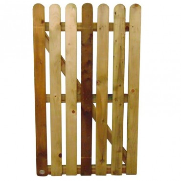 100MM ROUNDED PALING GATE TREATED 900MM (W)