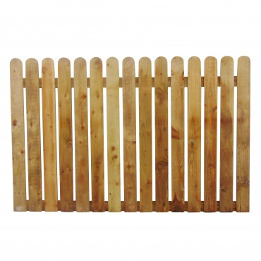 """100MM (4"""") PALING ROUNDED PICKET FENCE PANEL 25MM GAP - 1.2 (4FT) X 6FT (1.83m)"""