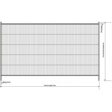 SITE FENCE  - GS7 SWELD SQ TOP PANEL 3.5M 071039