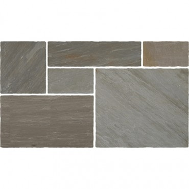 LIGHT GREY INDIAN STONE PATIO KIT 20.7 M2 PACK. CLASSIC