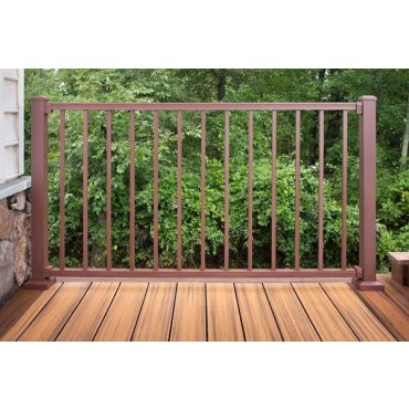 TREX BROWN TOP/BOTTOM RAIL WITH 13 SQUARE BALUSTRADES 1060 (H) X 1820 (W) HORIZONTAL